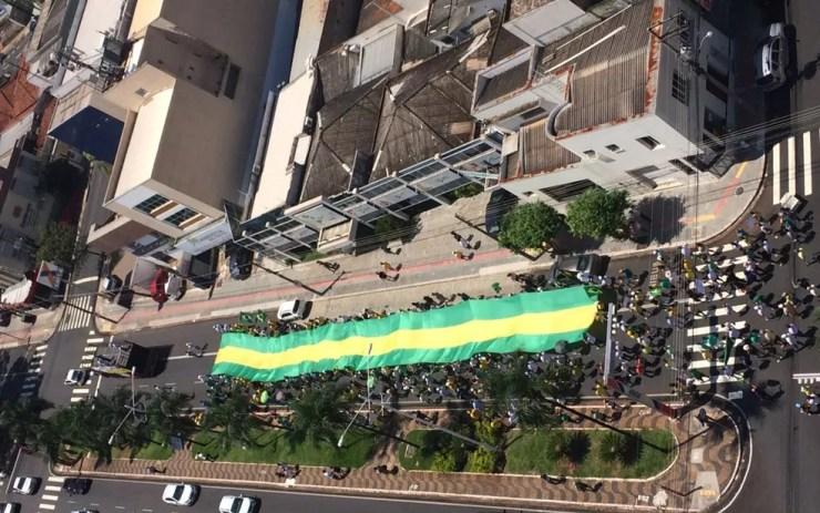 Manifestantes levaram bandeira para avenida de Rio Preto (Foto: Graciela Andrade/TV TEM)