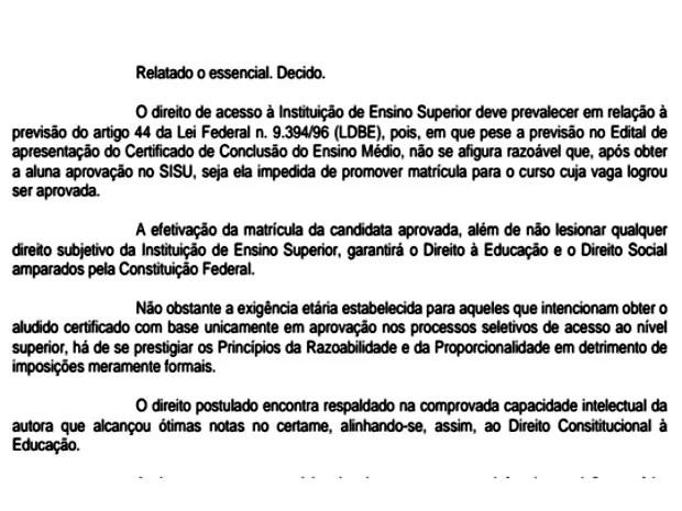 Parte da decisão judicial garantindo a certificação do ensino médio de Siham Kassab (Foto: Arquivo da Família)