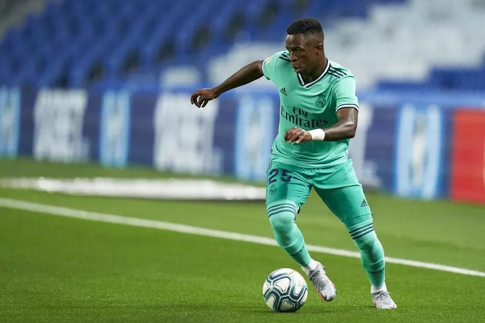 Vinicius Junior foi titular pela 14ª vez na temporada, a primeira desde a retomada do futebol — Foto: Pedro Salado/Getty Images