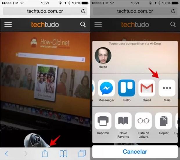 Acesse o menu de compartilhamento do iOS