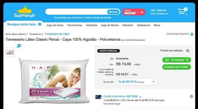 Travesseiro é vendido no Submarino com desconto; preço inicial era de R$ 99.999,99 (Foto: Reprodução/Submarino)