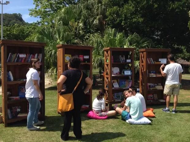 Lagoa, na Zona Sul do Rio, recebe biblioteca itinerante (Foto: Maria Laura Machado/Divulgação)