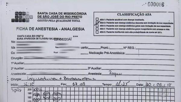 Documento comprova que paciente passou por laqueadura não solicitada em Rio Preto (SP) — Foto: Reprodução/TV TEM