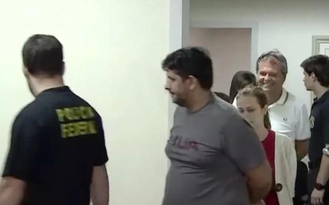 Jayme Rincón e demais presos da Operação Confraria saindo de audiência de custódia Goiânia Goiás — Foto: Reprodução/TV Anhanguera