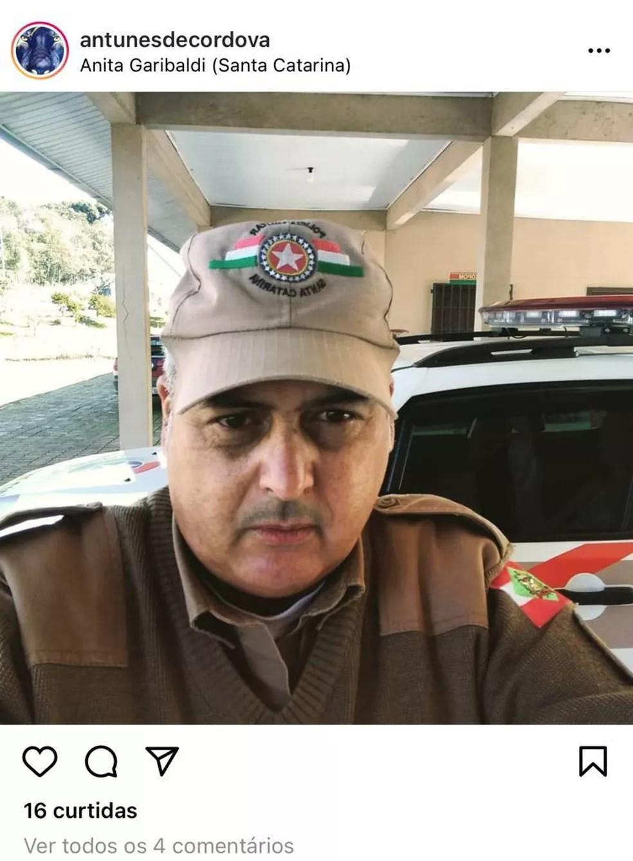 Sargento Gilmar Antunes de Cordova morreu em um acidente de trânsito nesta manhã de quinta-feira (29) — Foto: Redes Sociais/Reprodução