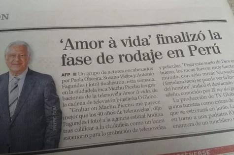 Antonio Fagundes em matéria de jornal peruano (Foto: Reprodução)