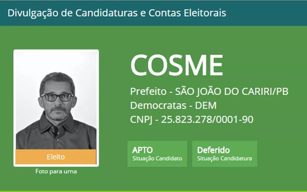 Cosme Gonçalves de Farias é prefeito da cidade de São João do Cariri, na Paraíba (Foto: Divulgação/TSE)