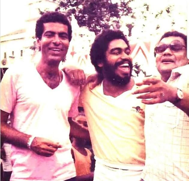 César Mendes, Jorge Portugal e Frank Romão na década de 1970 em Santo Amaro. — Foto: Reprodução / Redes Sociais