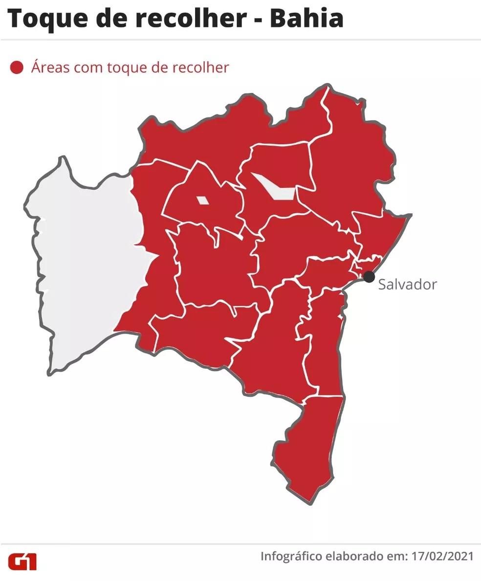 Veja em quais municípios da Bahia o decreto do toque de recolher será válido — Foto: Arte G1