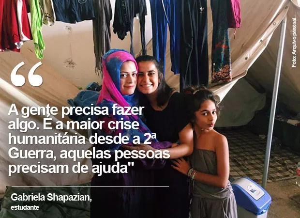 Gabriela Shapazian frase (Foto: Arquivo pessoal/Gabriela Shapazian)