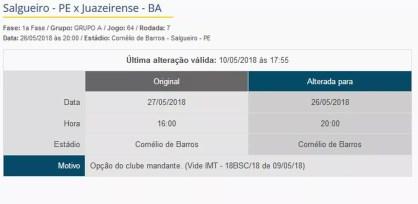 A partida entre Salgueiro e Juazeirense teve o dia alterado   (Foto: Resprodução / CBF)