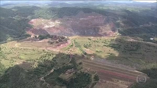 Barragem Sul Superior fica na Mina Gongo Soco, em Barão de Cocais, na Região Central de MG — Foto: Reprodução/TV Globo