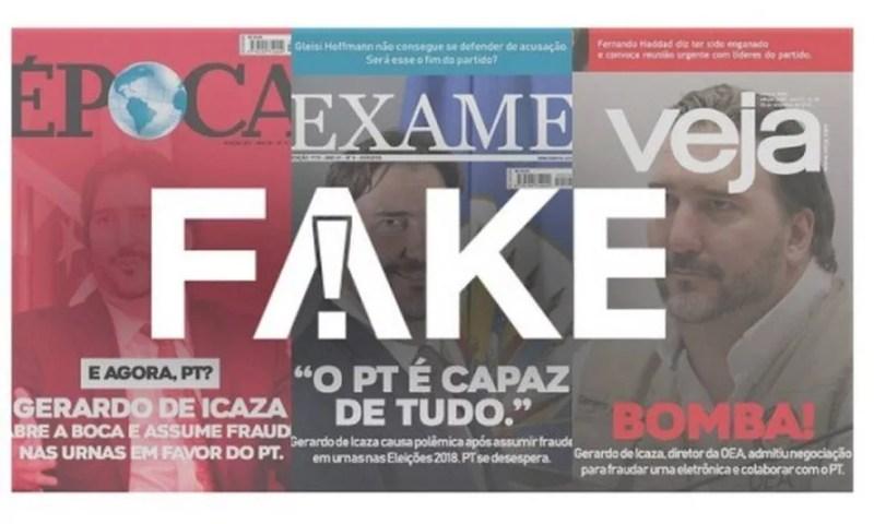 Capas de revistas são falsas — Foto: Reprodução