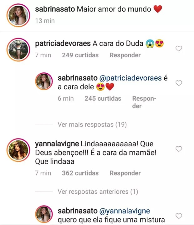 Famosos reagem a foto de Zoe, filha de Sabrina Sato (Foto: Reprodução/ Instagram)