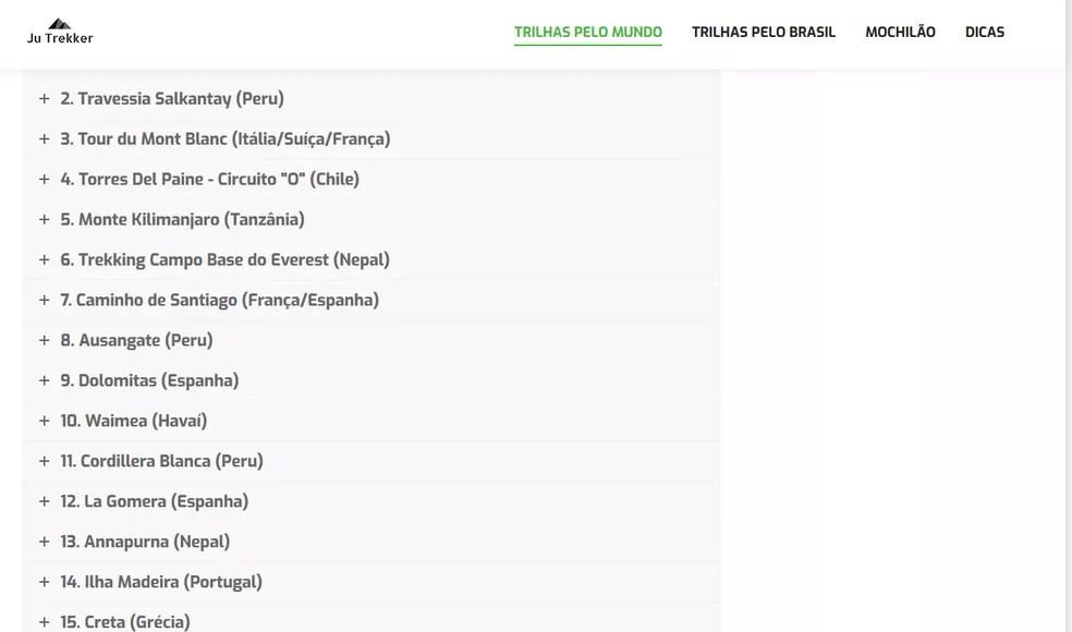 Lista de trilhas pelo mundo (Foto: Ju Trekker/Reprodução)