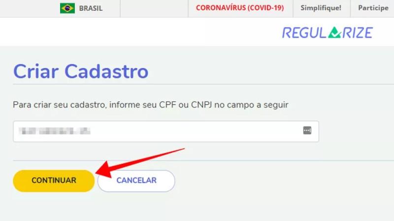 Informe o CPF no portal Regularize — Foto: Reprodução/Paulo Alves