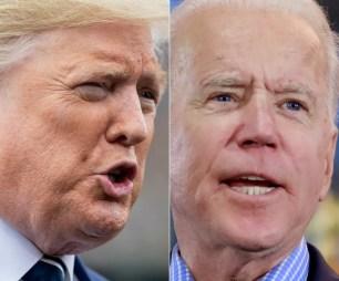 Donald Trump e Joe Biden disputam eleições nos EUA — Foto: Saul Loeb, Ronda Churchill/AFP