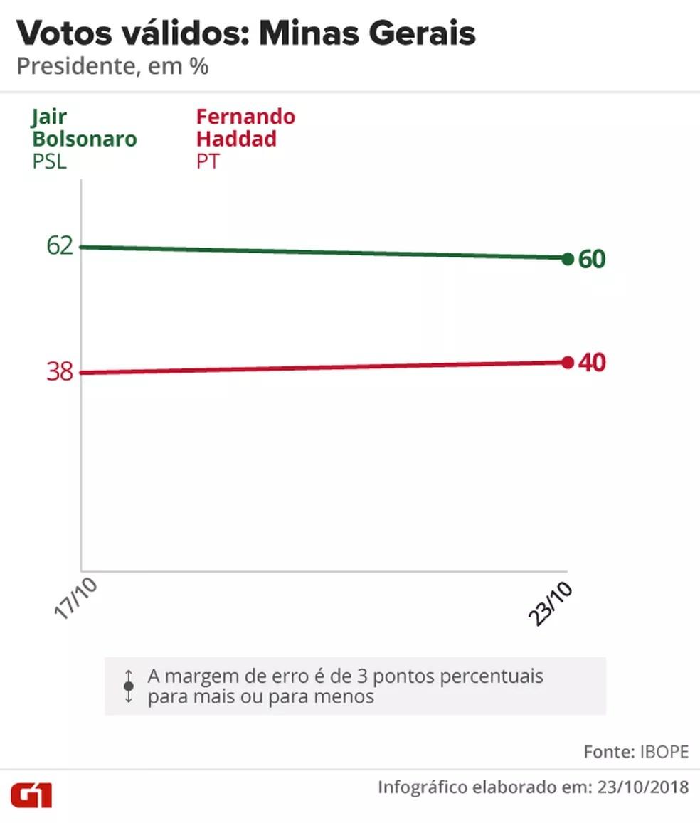 Pesquisa Ibope - 2º turno - Minas Gerais - votos válidos no estado — Foto: Arte/G1