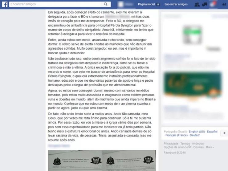 Mulher postou em seu Facebook fotos do boletim de ocorrência registrado como estupro e relatou ter medo de voltar ao cinema (Foto: Reprodução/Facebook)