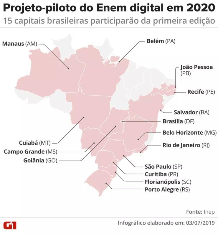 Mapa mostra as 15 capitais brasileiras que participaração da primeira edição do Enem digital, em 2020, em projeto-piloto — Foto: Rodrigo Sanches/G1