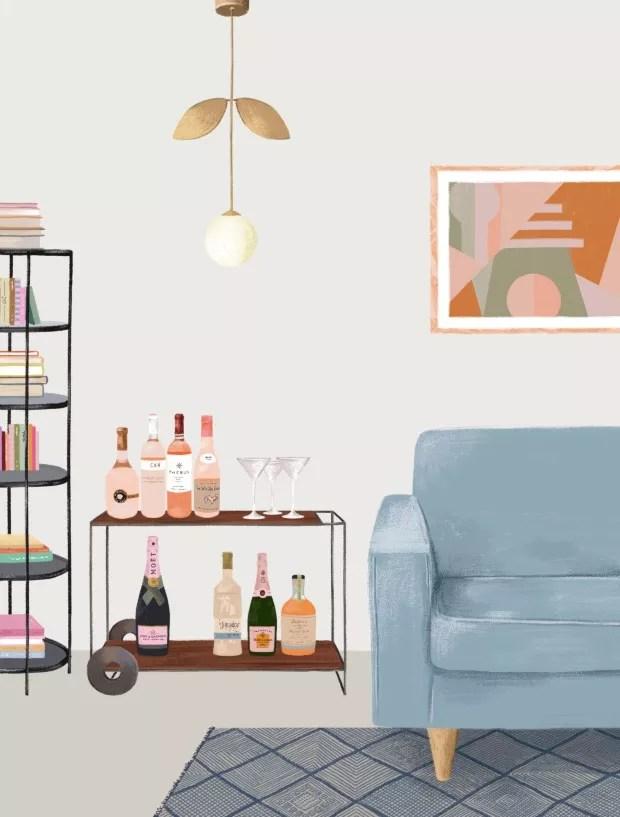 Ilustração de sala (Foto: Ilustração Malena Flores / Editora Globo)