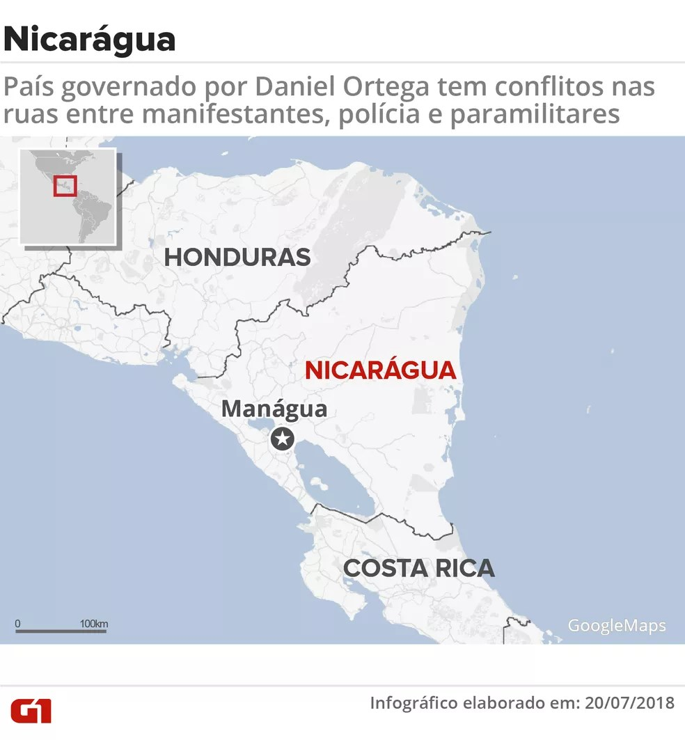 Mapa da Nicarágua — Foto: Karina Almeida/G1