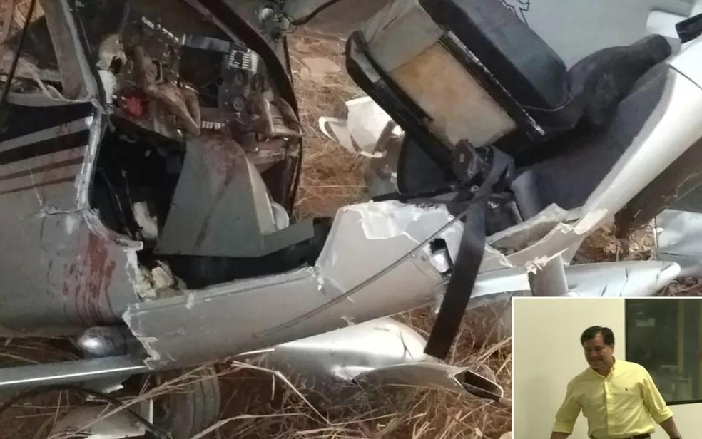 Avião pilotado por ex-senador boliviano Roger Pinto Molina cai em Luziânia, Goiás (Foto: Divulgação/Corpo de Bombeiros)