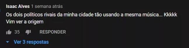 Comentário no YouTube no clipe de 'O homem disparou' — Foto: Divulgação
