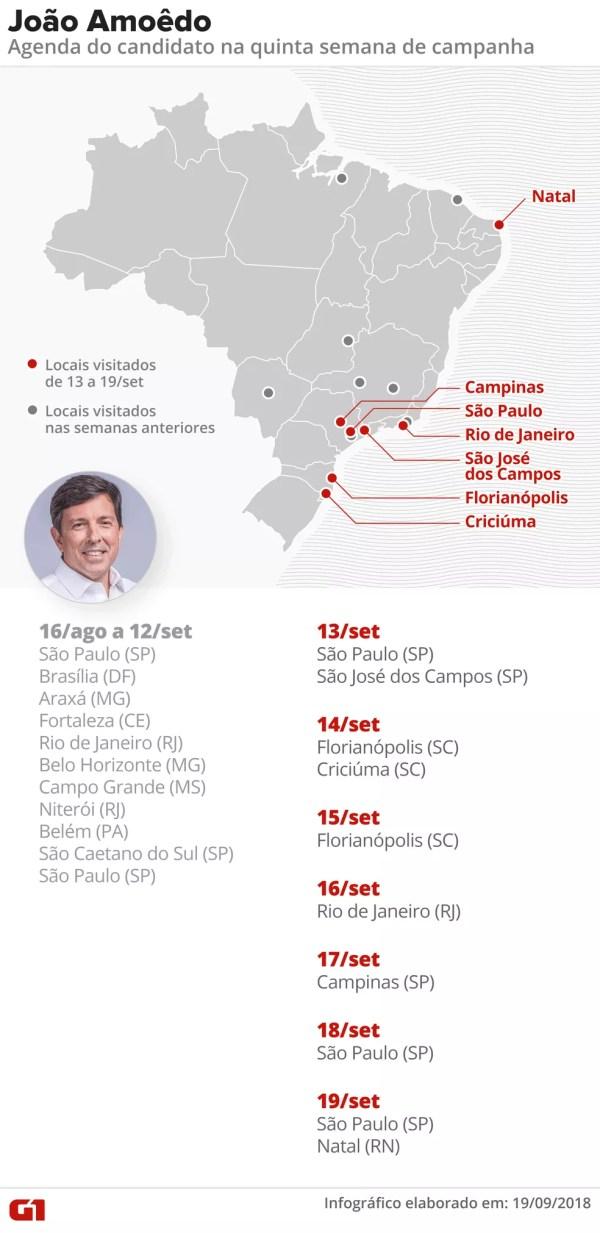Mapa das agendas de campanha de João Amoêdo — Foto: Alexandre Mauro/G1