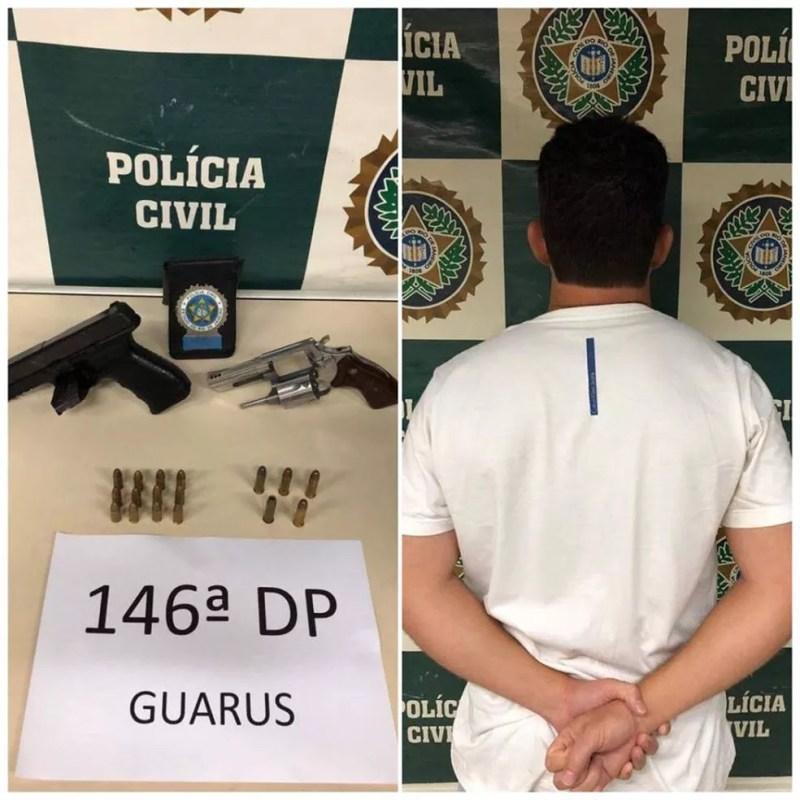Homem foi preso com armas e munições em casa de luxo — Foto: Divulgação/Polícia Civil