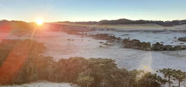 Início da manhã em São Joaquim — Foto: Mycchel Legnaghi
