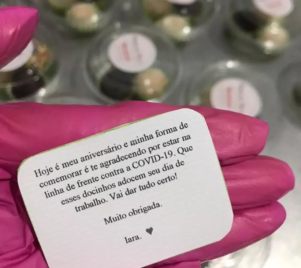 Docinhos levavam mensagem de agradecimento pelo trabalho durante a pandemia de Covid-19 — Foto: Arquivo pessoal