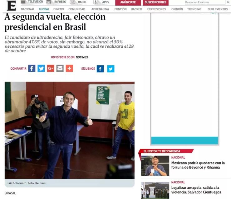 Jornal mexicano 'Excelcior' noticia resultado das eleições no Brasil — Foto: Reprodução/Excelsior