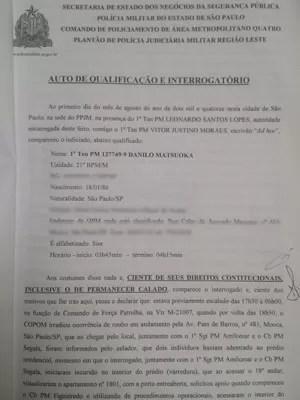 Interrogatório dos PMs presos suspeitos de executarem pichadores em um prédio em São Paulo (Foto: Reprodução)