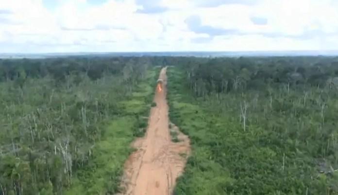 Em operação, exército explodiu pista clandestina usada por grileiros na divisa do Acre, Amazonas e Rondônia   (Foto: Reprodução/Rede Amazônica Acre)