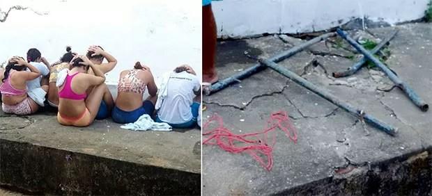 Presas apontadas como líderes dos motins foram transferidas; neste sábado (21), detentas arrancaram barras de ferro das paredes dos banheiros (Foto: G1/RN)
