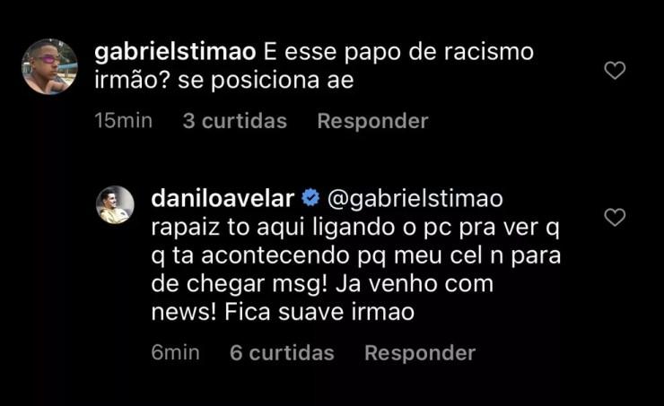 Interação de Danilo Avelar com internauta sobre acusação de racismo — Foto: Reprodução