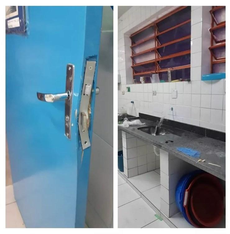 Criminosos arrombaram portas de salas de aula e levaram torneiras da cozinha da EMEI Manoel Preto, na Zona Norte de SP — Foto: Reprodução/Gestão Escolar EMEI Manoel Preto