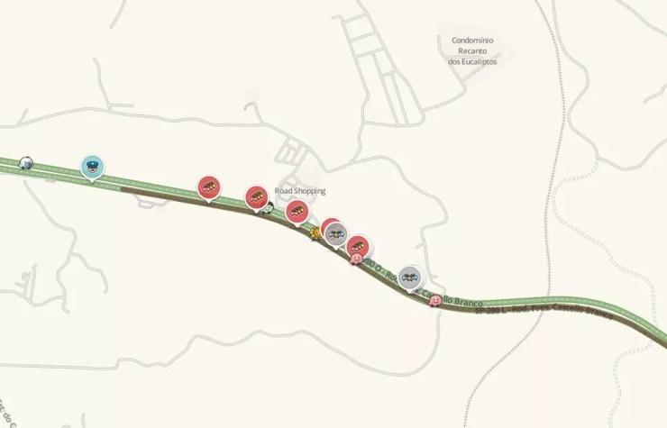 Motoristas enfrentaram dois quilômetros de congestionamento na rodovia Castello Branco, em Itu (Foto: Reprodução/Waze)