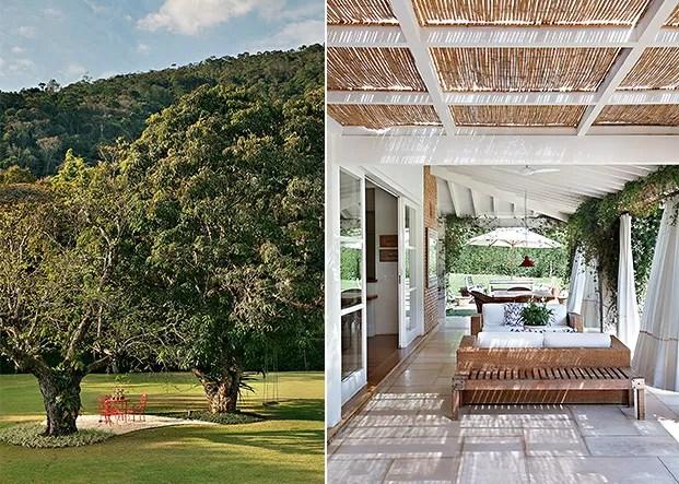 Jardim | Entre uma mangueira e uma amendoeira, a arquiteta criou um pátio com pedriscos para colocar a mesa e as cadeiras de ferro pintadas por seus filhos (Foto: Denilson Machado)