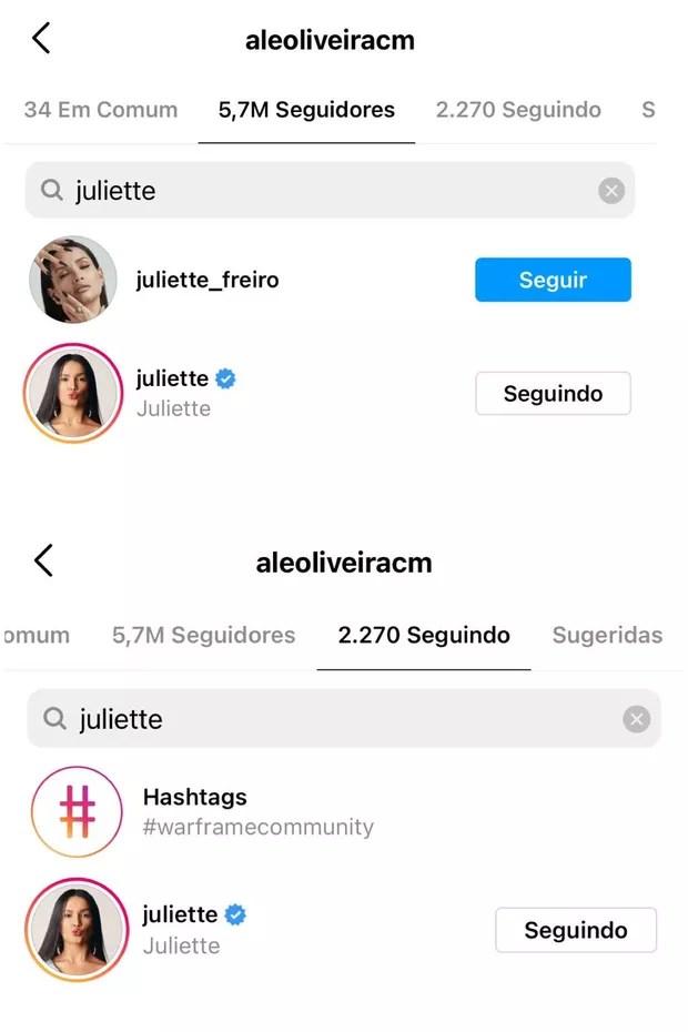 Até a tarde desta sexta-feira, Juliette seguia e era seguida por Alê no Instagram (Foto: Reprodução/Instagram)