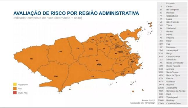 Mapa de Risco de Covid-19, da Prefeitura do Rio,  de 13/05/2021 — Foto: Divulgação