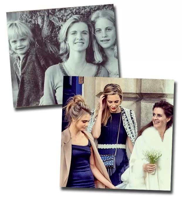 O trio de irmãs Cara, Chloe e Poppy Delevingne; Cara e Poppy saindo da igreja no enlace de Chloe com Edward Grant (Foto: Arquivo Pessoal)