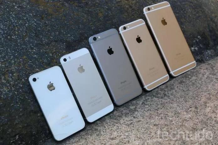 Iphones em fileira (Foto: Lucas Mendes/TechTudo)