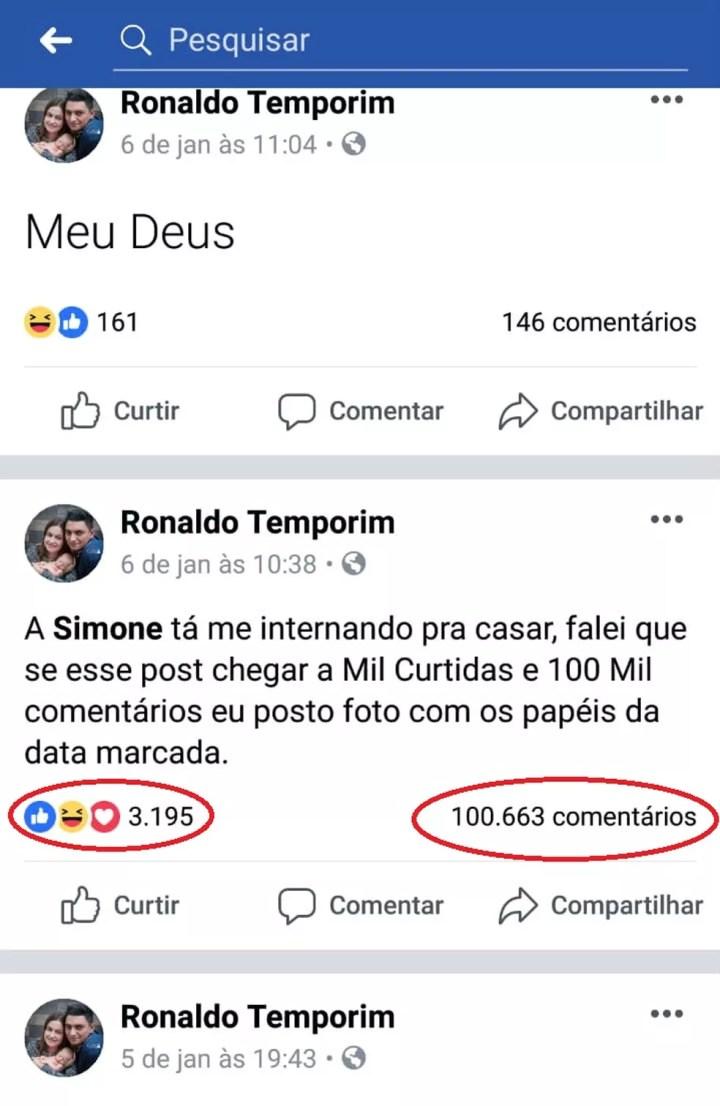 """Postagem do caminhoneiro superou a marca """"inimiagiável"""" de 100 mil comentários em apenas dois dias: """"Não sei como isso aconteceu"""", disse Ronaldo — Foto: Facebook/Reprodução"""