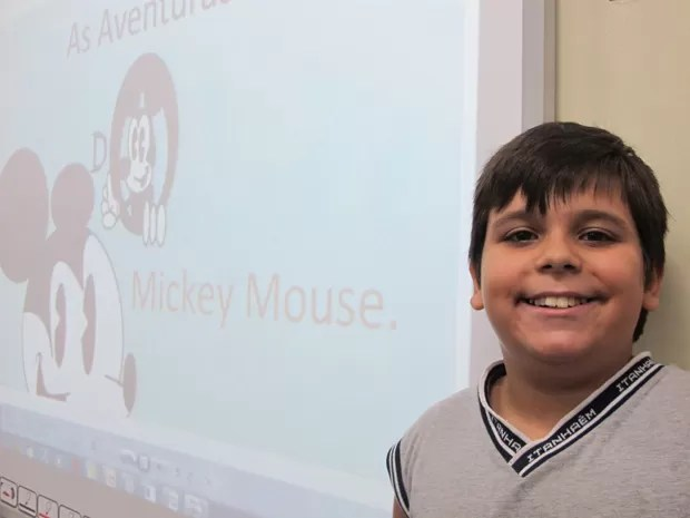 Diego antes de contar uma história sobre o Mickey (Foto: Mariane Rossi/G1)