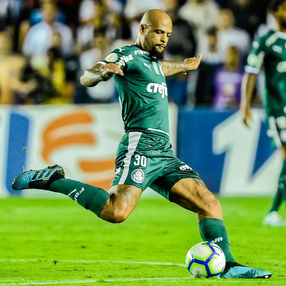 Felipe Melo durante a partida entre Santos x Palmeiras — Foto: Renato Pizzutto/BP Filmes