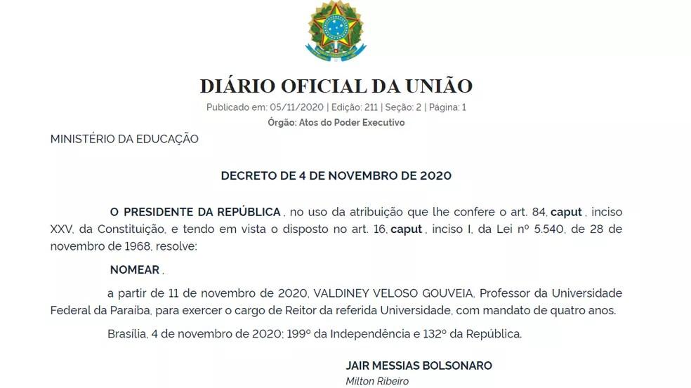 Valdiney Veloso é nomeado reitor da Universidade Federal da Paraíba — Foto: Reprodução/Diário Oficial da União
