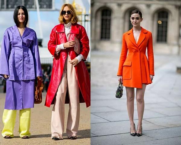 O amarelo, o roxo, o laranja e o vermelho são tons cítricos que dão vida ao look (Foto: Imaxtree)