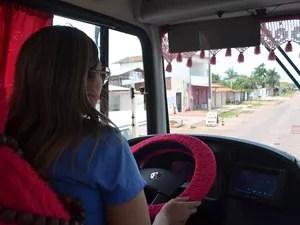 Motorista de Ônibus, mulher, incentivo, sonhos, amapá, macapá, (Foto: Fabiana Figueiredo/G1)